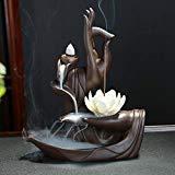 OUYEE Fleur de Lotus / Moine Brûleur D'encens à Dos, Grand Cône En Céramique À La Main Bâtons Porte-Encens Décor À La Maison Artisanat Figurine avec 10 pcs Cônes D'encens (A)