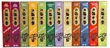 Encens Morning Star - Assortiment de 12 parfums (600 bâtons au total) - Bois de santal, pin, musc, patchouli, jasmin, rose, bois de cèdre, ambre, vanille, thé vert, lavande et cannelle - 12x50 bâtons