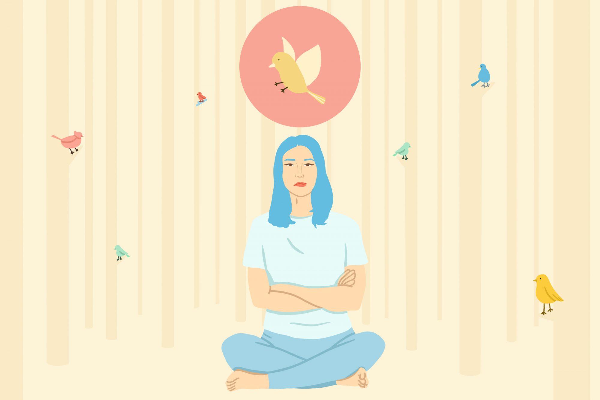 Femme pratiquant la pleine conscience dans l'illustration des bois